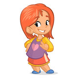 Cute little girl with red hair; vector   cartoon style character in a shirt skirt Royalty Free Stock Photo