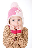 Cute little girl in red hat holding hands to face in surprise Royalty Free Stock Photos