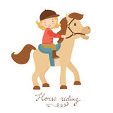 Cute little girl riding a horse. Vector illustration Stock Photo