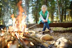 Cute little girl roasting hotdog on a stick at bonfire. Child having fun at camp fire. Camping with kids in fall forest. royalty free stock photos