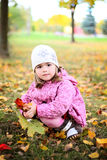 Cute little girl with rose in autmn park Stock Images