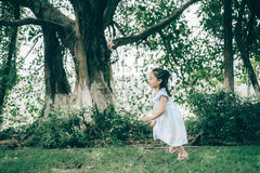 Cute little girl running. Summer Royalty Free Stock Photo