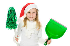 Cute little girl in the santa claus hat Stock Photos