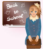 Cute little girl with school bag Royalty Free Stock Photo