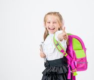 Cute little girl in school uniform Stock Photo