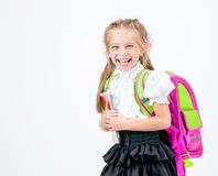 Cute little girl in school uniform Stock Image
