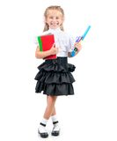 Cute little girl in school uniform Royalty Free Stock Photos
