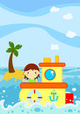 Cute little girl sealing on a boat. Illustration about a cute little girl crossing the waves of the ocean in front of a little palm island with her boat Royalty Free Stock Images