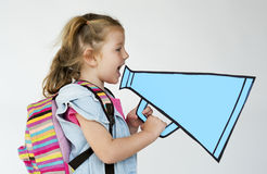 Cute Little Girl Shouting Concept. Little School Girl Portrait Concept Royalty Free Stock Images