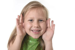 Cute little girl showing face in body parts learning school chart serie Stock Photo