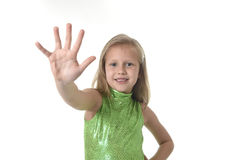Cute little girl showing hand in body parts learning school chart serie Stock Image