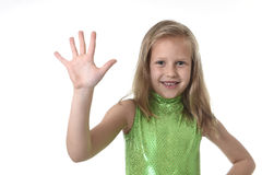 Cute little girl showing hand in body parts learning school chart serie Stock Photos