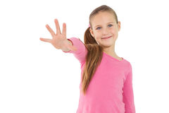 Cute little girl showing her hand Stock Image