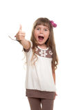 Cute little girl showing ok sign Stock Photo
