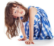 Cute little girl shows Stock Images