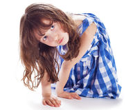 Cute little girl shows Royalty Free Stock Image