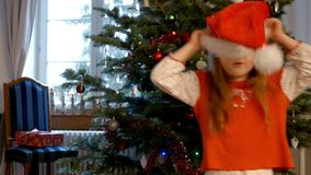 Cute little girl singing christmas song stock video