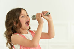 Cute little girl singing Stock Photography