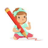 Cute little girl sitting on the floor and writing with a giant red pencil cartoon vector Illustration Stock Photography