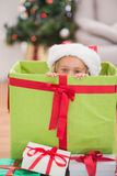 Cute little girl sitting in giant christmas gift Stock Photography