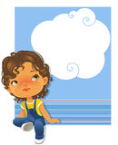 Cute little girl sitting looking up. Text frame Royalty Free Stock Photo