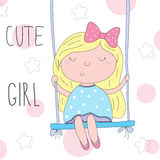 Cute little girl sitting on a swing vector illustration Royalty Free Stock Photo