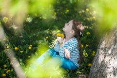 Cute girl on a glade of dandelions royalty free stock photo