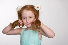 Cute little girl of six years playful Royalty Free Stock Photos