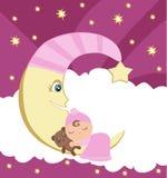 Cute little girl sleeping on moon. Vector Illustration Stock Photos