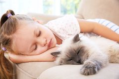 Cute little girl sleeping on sofa with   cat Royalty Free Stock Images