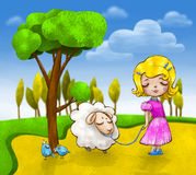 Cute little girl with a small lamb and two blue birds are going for a walk Royalty Free Stock Photography