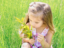 Cute little girl smelling flowers on the meadow Stock Photography
