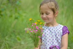 Cute little girl smelling flowers on the meadow Stock Images