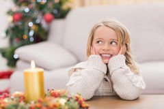 Cute little girl smiling at christmas Stock Photo
