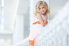 Cute little girl, smiling in the city. Stock Image