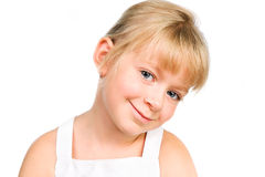 Cute little girl smiling isolated over white Royalty Free Stock Photography