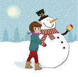 Cute little girl with snowman Royalty Free Stock Photo
