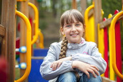 Cute little girl  in spring day Stock Photo