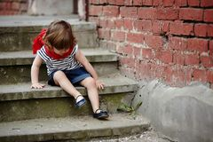 Cute little girl on stairway Royalty Free Stock Photo