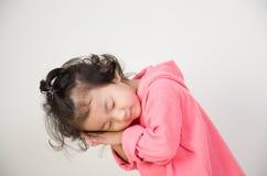 Cute little girl stand sleeping Stock Photo