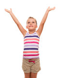 Cute little girl standing on white stretching her arms up Stock Photography