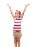 Cute little girl standing on white stretching her arms up. It's absolutly amaizing thing right to me Royalty Free Stock Photo