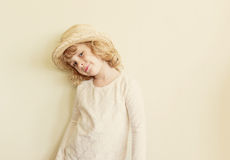 Cute little girl in straw hat Royalty Free Stock Photos