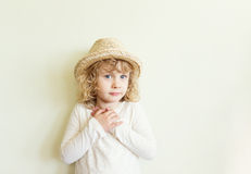 Cute little girl in straw hat Royalty Free Stock Images