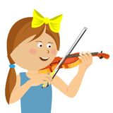 Cute little girl with string playing violin Royalty Free Stock Photo