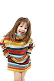 Cute little girl in a striped sweater Royalty Free Stock Photography
