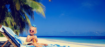 Cute little girl with sunblock cream on tropical. Cute little girl with sunblock cream on beach, wide panorama Stock Images