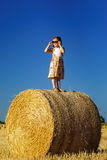 Cute little girl with sunglasses posing on the haystack Stock Photos