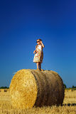 Cute little girl with sunglasses posing on the haystack Stock Image