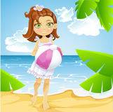 Cute little girl at the sunny beach Royalty Free Stock Photography